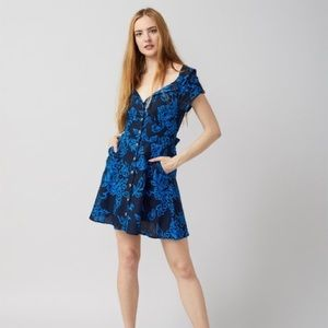 Free People A Thing Called Love Mini Dress Blue